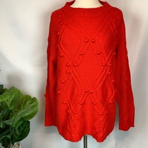 AVA + VIV▪️Coral Orange Pom Pom Sweater. 1X